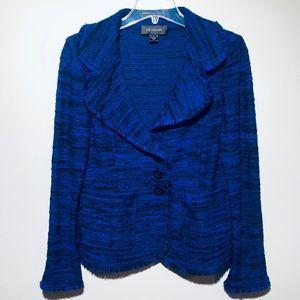 St John Tweed Fringe Trim Blazer Cobalt Blue 8